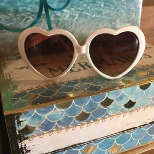 White heart shaped sunglasses from Tilly's!